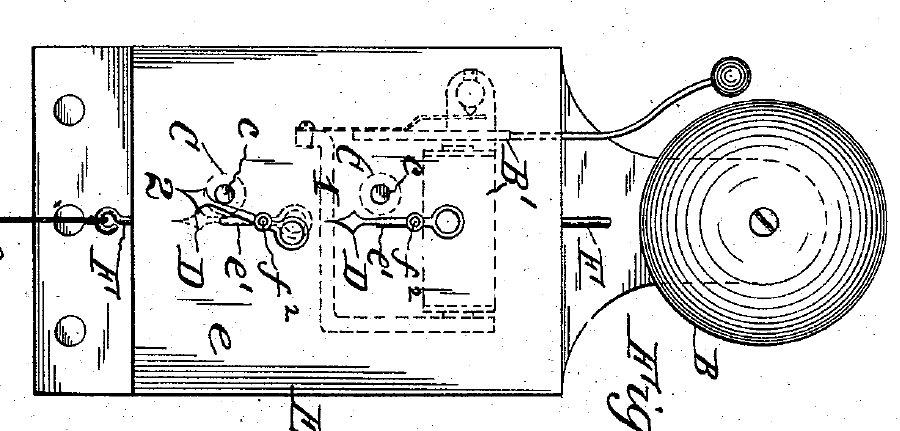 Electrical Anunciator. F.S. Carter, assignee. Patent 416712. 10 Dec. 1889. Print.