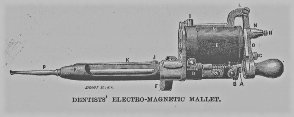Dentist's Electromagnetic mallet. The Centennial Exposition. Ingram, J.S. Hubbard Bros., 1876. pg. 300. Print.