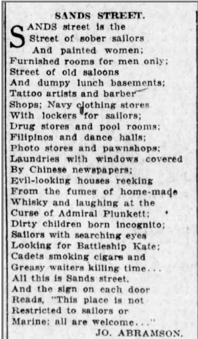 Battleship Kate of Sands Street poem