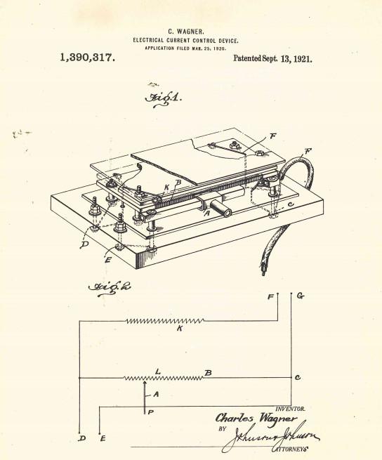 1921 Charlie Wagner Tattoo Rheostat Patent